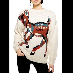 NEW TopShop Intarsia chunky deer sweater sz 4